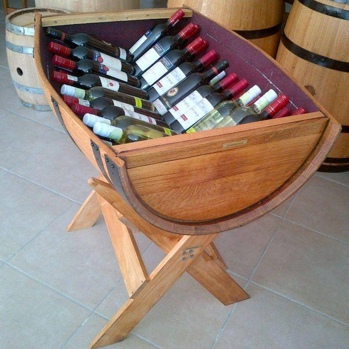Vertically Cut Wine Barrel Display Barrels