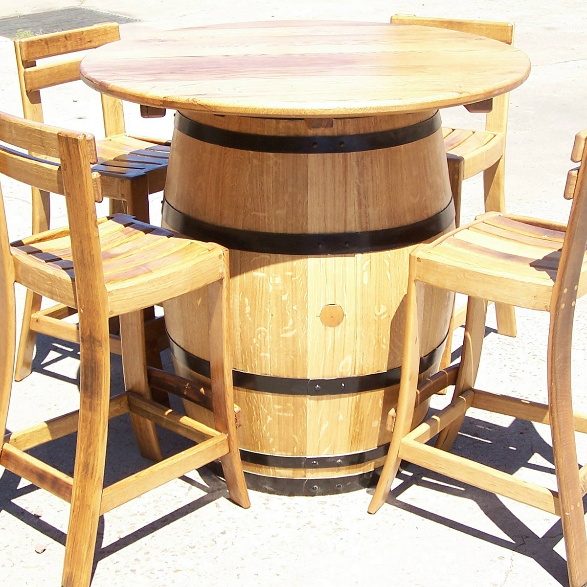 Wine Barrel Table & Chairs Set Combo