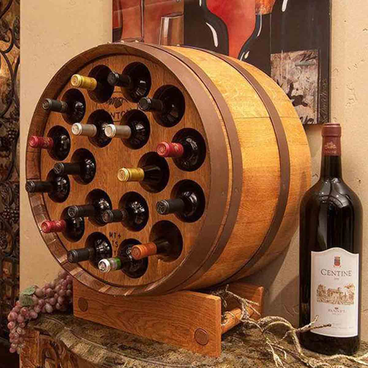 Wine Barrel Wine Display Rack