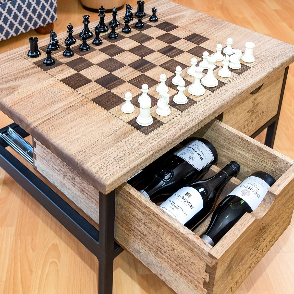 2 Drawer Acer Coffee Table Chess Board Wine Barrel Furniture Manufactured In South Africa