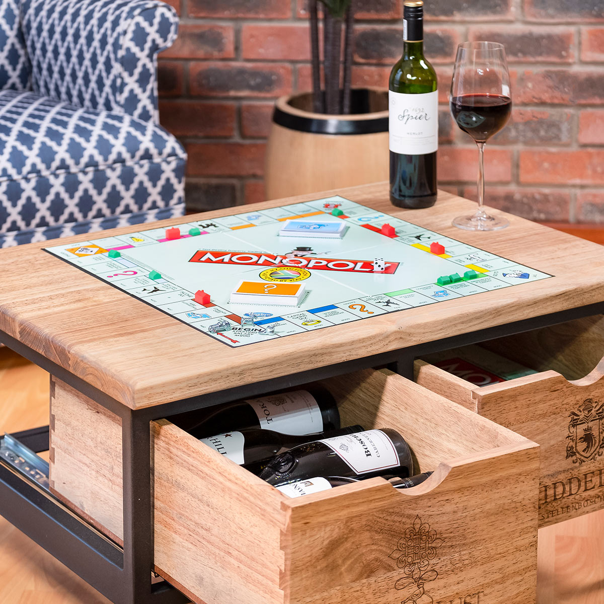 2 Drawer Coffee Table With Monopoly Game